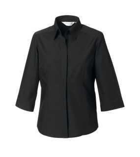 Dámská košile (3 4 Sleeve PolyCotton Easy Care Fitted Poplin) černá  301bea3a53