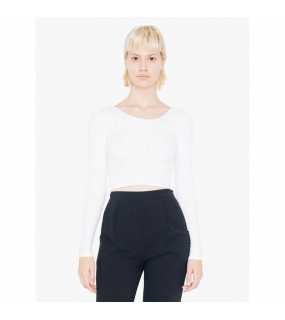 Dámský top (AMERICAN APPAREL WOMEN'S COTTON SPANDEX JERSEY LONG SLEEVE CROP TOP)>bílá>L