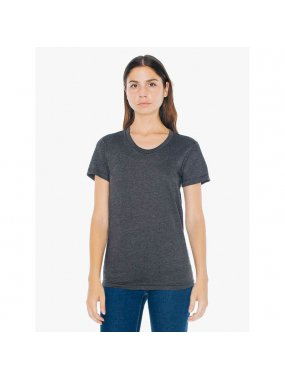 Dámské triko (AMERICAN APPAREL WOMEN'S POLY-COTTON SHORT SLEEVE T-SHIRT)>černá (heather)>M