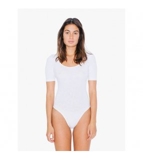 Dámské body (AA WOMEN'S COTTON SPANDEX JERSEY SHORT SLEEVE DOUBLE U-NECK bodysuit)>bílá>XS