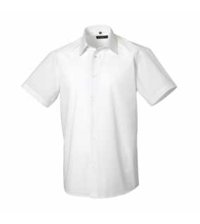Pánská košile (Short Sleeve PolyCotton Easy Care Tailored Poplin RUSSELL)>bílá>L