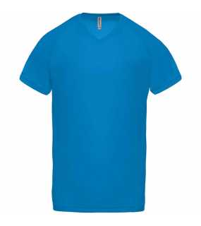 Pánské triko (PROACT MEN'S V-NECK SHORT SLEEVE SPORTS T-SHIRT)>modrá (aqua)>3XL