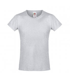Dětské tričko (FRUIT OF THE LOOM Girls Sofspun Tee)>šedá (heather grey)>3/4