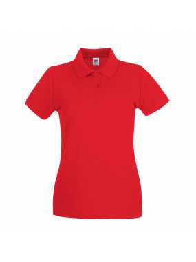 Dámská polokošile (FRUIT OF THE LOOM New Lady-Fit Premium Polo )>červená>XL