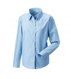 Dámská košile (Long Sleeve Easy Care Oxford RUSSELL)>modrá (oxford)>S