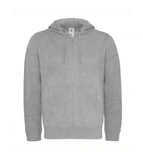 Pánská mikina (B&C HOODED FULL ZIP/MEN)>šedá (heather)>XL