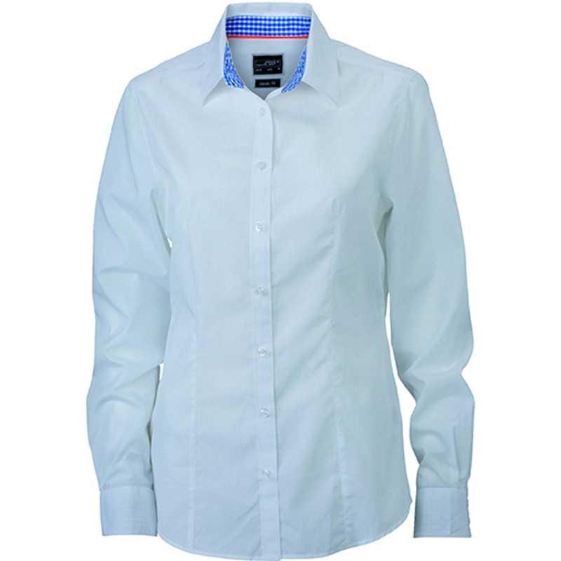 Dámská košile (JN Ladies  Plain Shirt) bílá   modrá (royal) XS ... e8ad070145