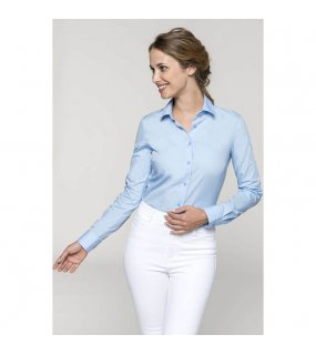 Dámská košile (KARIBAN LADIES 'LONG SLEEVE poplin SHIRT)>modrá (bright sky)>2XL