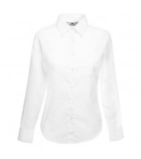 Dámská košile (FRUIT OF THE LOOM Lady-Fit Long Sleeve Poplin Shirt )>bílá>M