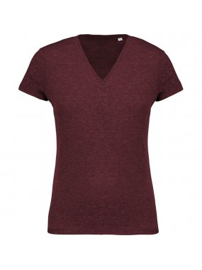 Dámské triko (KARIBAN LADIES 'ORGANIC COTTON V-NECK T-SHIRT)>červená (wine heather)>M