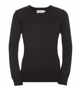Dámsky svetr(RUSSELL COLLECTION Ladies Crew Neck Knitted Pullover)>černá>M