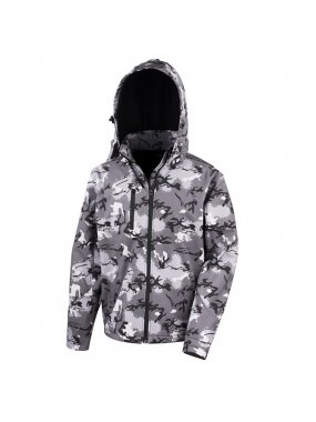 Unisex bunda (RESULT TX PERFORMANCE HOODED SOFT SHELL JACKET)>šedá (charcoal camouflage)>L