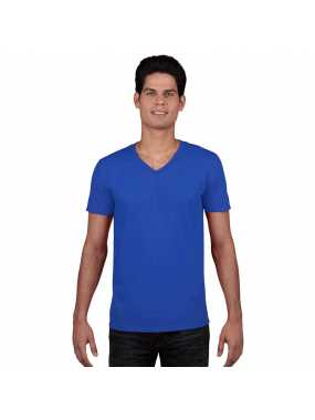 Unisex triko(GILDAN SOFTSTYLE ADULT V-NECK T-SHIRT)>modrá (royal)>S