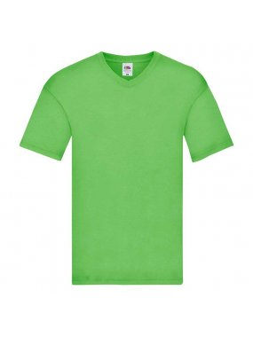 Pánské triko(FRUIT OF THE LOOM Original V Neck T)>zelená (lime)>3XL