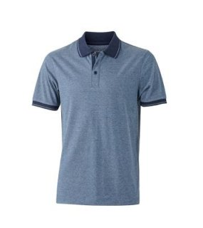 Pánská polokošile (J&N MEN'S HEATHER POLO)>modrá (melange) / modrá (navy)>L