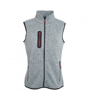 Dámská vesta(JN Ladies Knitted Fleece Vest)>šedá (light melange) / červená>M
