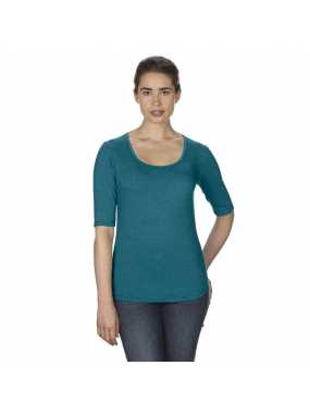 Dámské triko (ANVIL WOMEN S DEEP SCOOP 3 SLEEVE TEE)>modrá (galapágy heather)>M