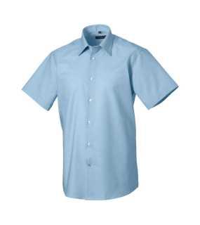 Pánská košile (Short Sleeve Easy Care Tailored Oxford RUSSELL) modrá  (oxford) 14eba4ab16