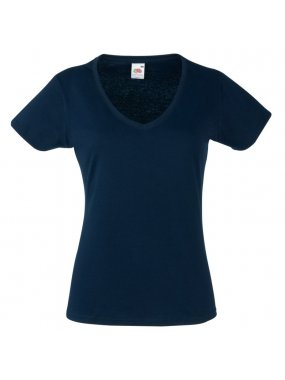 Dámské tričko (FRUIT OF THE LOOM Lady-Fit Valueweight V-Neck T)>modrá (deep navy)>L