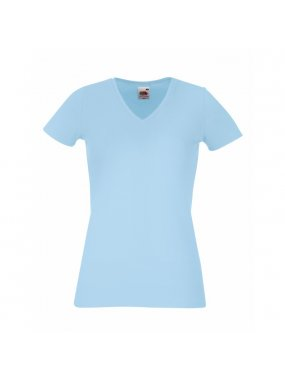 Dámské tričko (FRUIT OF THE LOOM Lady-Fit V-Neck T)>modrá (sky)>XL