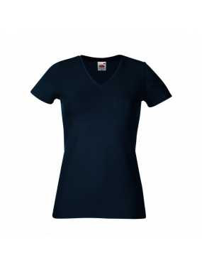 Dámské tričko (FRUIT OF THE LOOM Lady-Fit V-Neck T)>modrá (deep navy)>2XL