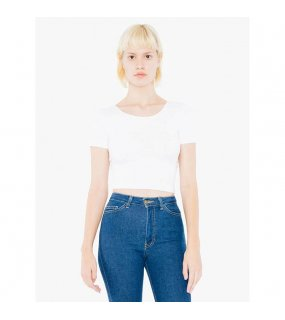 Dámský top (AMERICAN APPAREL WOMEN'S COTTON SPANDEX JERSEY SHORT SLEEVE CROP TOP)>bílá>L