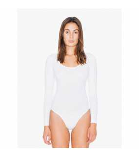 Dámské body (AA WOMEN'S COTTON SPANDEX JERSEY LONG SLEEVE DOUBLE U-NECK bodysuit)>bílá>S