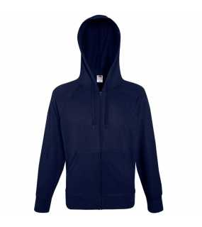 Pánská mikina (Fruit of the Loom-LW HOODED SWEAT JKT)>modrá (deep navy)>M