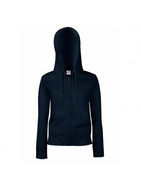 Dámská mikina (FRUIT OF THE LOOM Lady-Fit Hooded Sweat Jacket)>modrá (deep navy)>XS