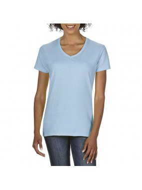 Dámské tričko(GILDAN PREMIUM COTTON LADIES V-NECK T-SHIRT)>modrá (light)>M
