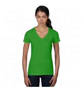 Dámské triko (WOMENS FASHION BASIC V-NECK TEE)>zelená (apple)>S