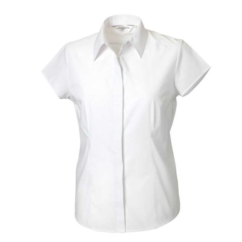 Dámská košile (Cap Sleeve PolyCotton Easy Care Fitted Poplin RUSSELL) bílá  XS 327b877d7b