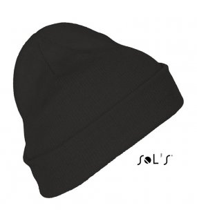 Unisex čepice (SOL'S PITTSBURGH SOLID-COLOUR BEANIE WITH CUFFED DESIGN)>černá