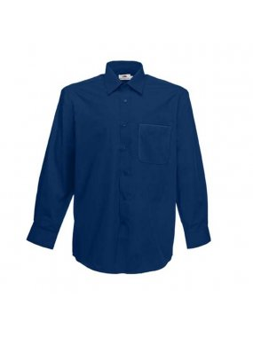 Pánská košile (FRUIT OF THE LOOM Long Sleeve Poplin Shirt )>modrá (navy)>M