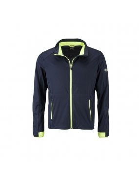 Pánská bunda (JN Mens Sports Softshell Jacket)>modrá (navy) / žlutá (bright)>S