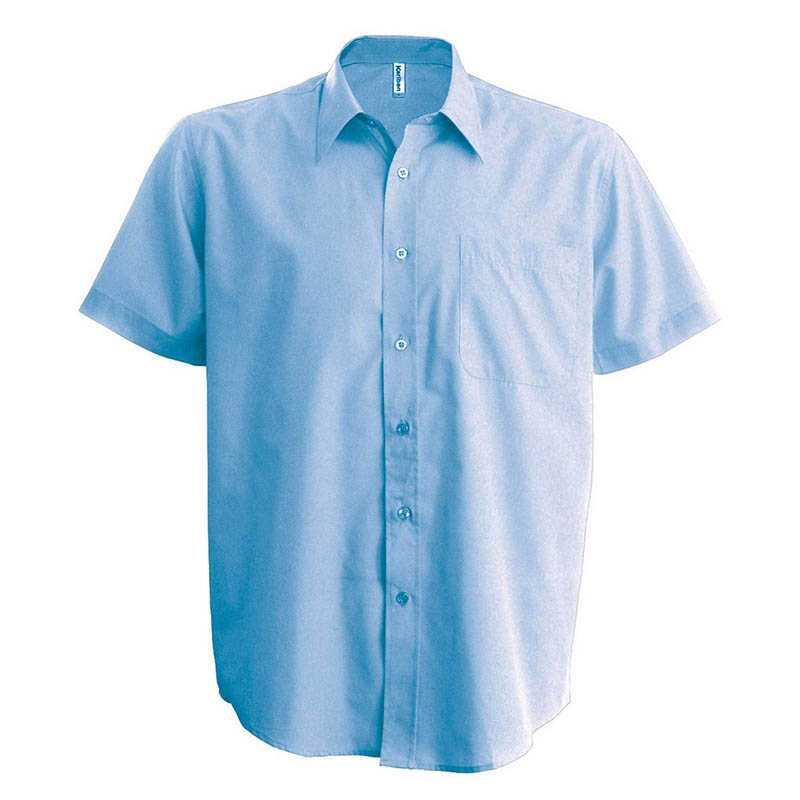 Pánská košile(KARIBAN ACE MENS SHORT SLEEVE POPLIN SHIRT) modrá (bright  sky) S 9ecba2b7c9