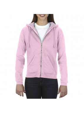 Dámská mikina (COMFORT COLORS LADIES 'FULL ZIP HOODED SWEATSHIRT)>růžová (blossom)>L