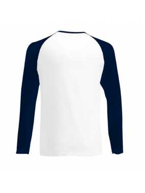 Pánské triko(FRUIT OF THE LOOM Long Sleeve Baseball T )>bílá / modrá (deep navy)>3XL