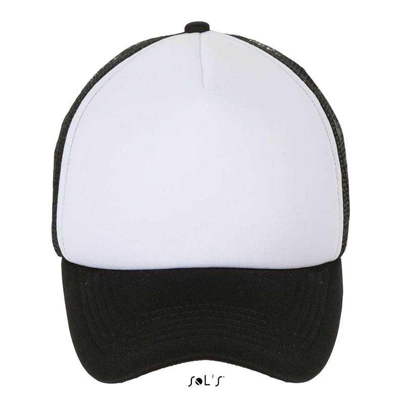 5 panelová kšiltovka (SOL S BUBBLE 5-PANEL MESH CAP) bílá   černá ... 952823c618