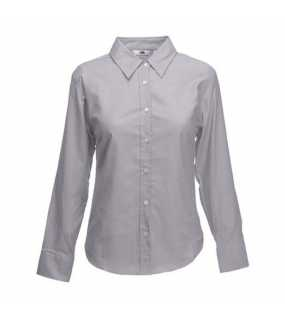 Dámská košile (FRUIT OF THE LOOM Lady-Fit Long Sleeve Oxford Shirt )>šedá (oxford)>S