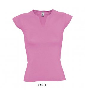 "Dámské triko(SOL'S ""MINT - WOMEN'S V-NECK T-SHIRT WITH CAP SLEEVES)>růžová(orchid)>XS"