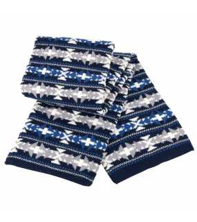 Zimní šála (RESULT Fair Isle Double Layer Jacquard Scarf)>modrá (navy)