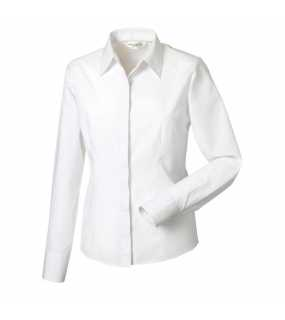 Dámská košile (Long Sleeve PolyCotton Easy Care Fitted Poplin  RUSSELL) bílá M 5e16e98c30