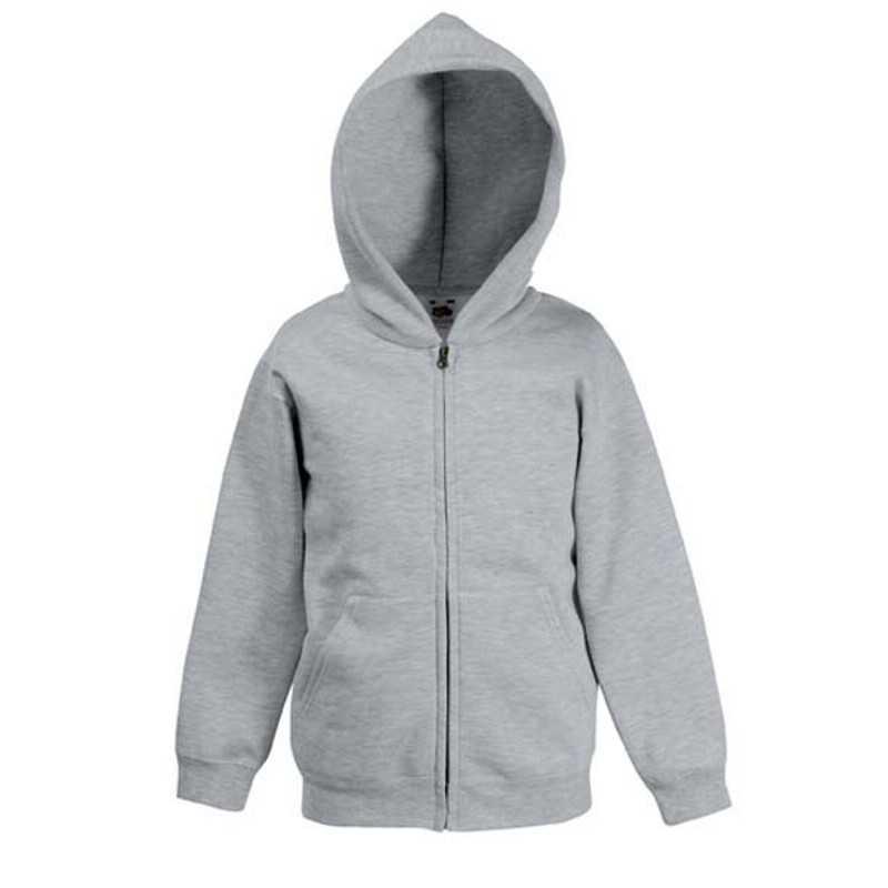 Dětská mikina (FRUIT OF THE LOOM Kids Hooded Sweat Jacket) šedá  (heather) 12 13 2c51057231